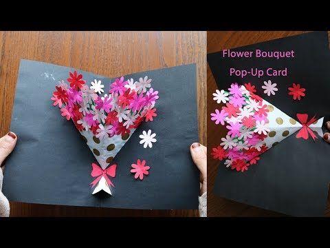 DIY Flower Bouquet Pop up Card-Paper Crafts-Handmade Craft - YouTube