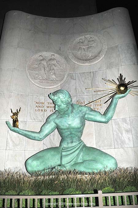 Spirit of Detroit Statue in front of the City County Building, Detroit, MI