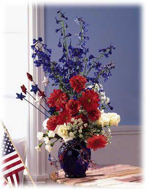 17 best images about patriotic floral arrangements on for Red white blue flower arrangements