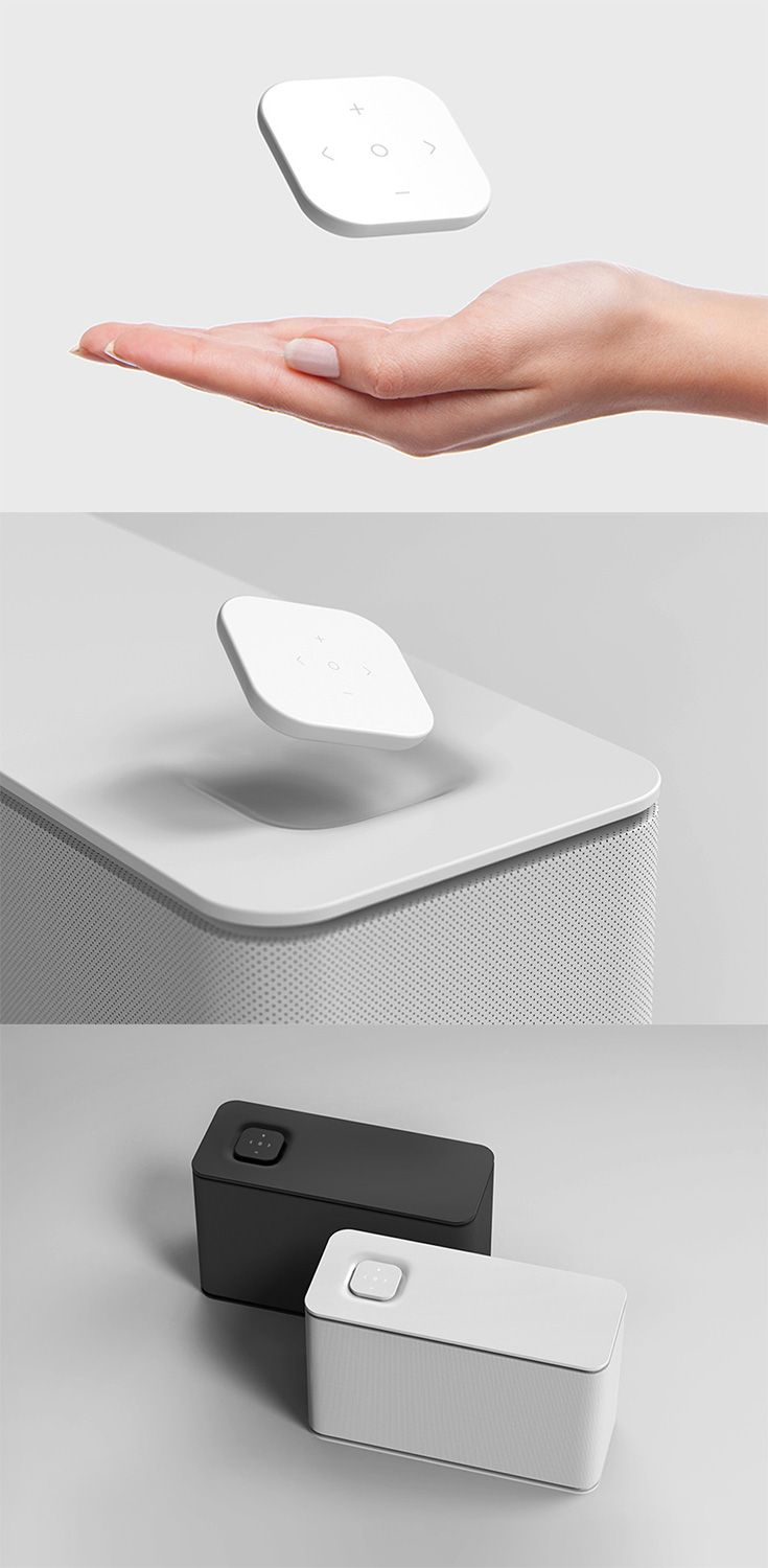 These speakers are perfectly minimal in pure white or black, the geometrically simple design features fine fabric between two plastic surfaces, It's as intuitive  to use as it is aesthetically sophisticated... READ MORE at Yanko Design !