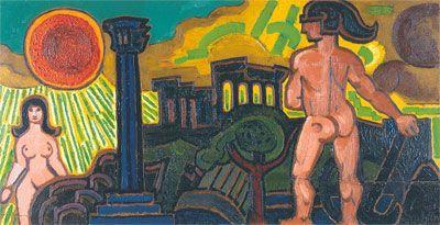 Henry Heerup: Mand, Kvinde og Tempel, 1954. Rødovre Centrum A/S