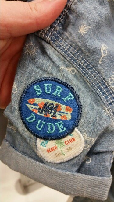 No.1 Surf dude beach club Boys denim jean badge