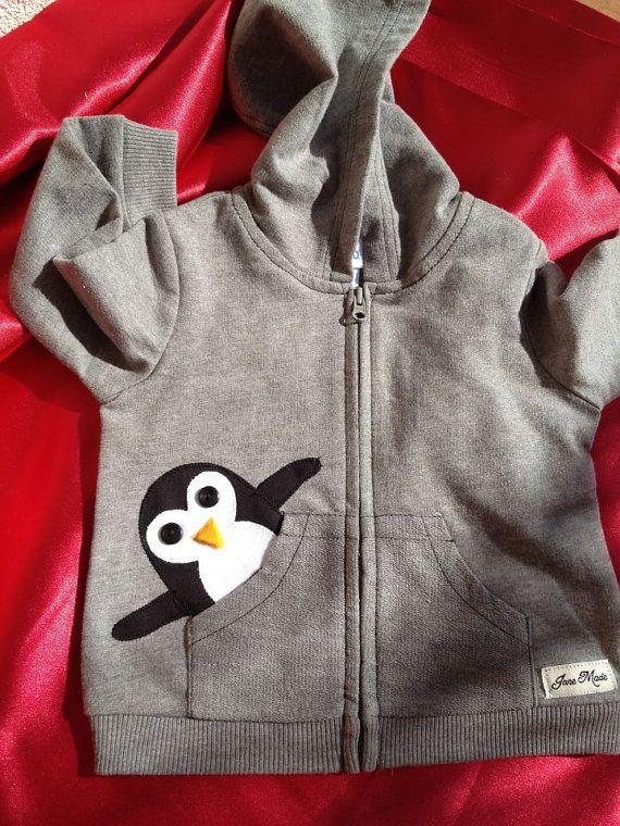 Penguin in my Pocket Hoodie 3 6 9 months PINK OR by oohlalajanie