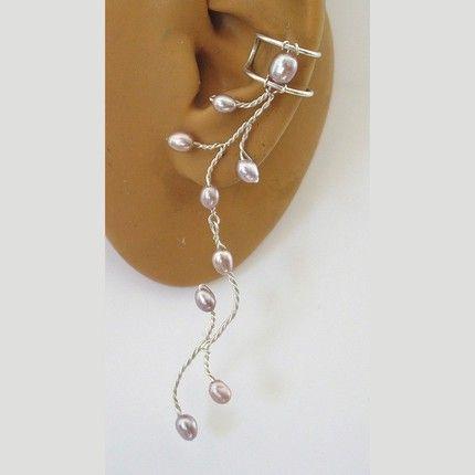 Mauve FW Pearl Ear Cuff Pair | zannedelions - Jewelry on ArtFire