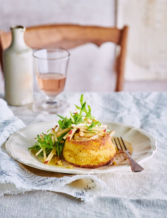 Twice-cooked goats' cheese soufflés with apple and walnut salad - Perfect make ahead starter for a dinner party