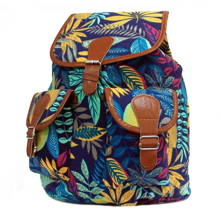 Jungle Bag - Big Backpack - Blue / Teal | Hip AngelsBeautiful Jungle Backpack with two external pockets for those small items and two internal pockets where one comes with a zipper. This backpack is very comfy and its good enough to carry all the school supplies.  #Scarves_wholesale #Bags_wholesale #Jungle_bags #Flowersbags #Backpackwholesale #Big_backpack