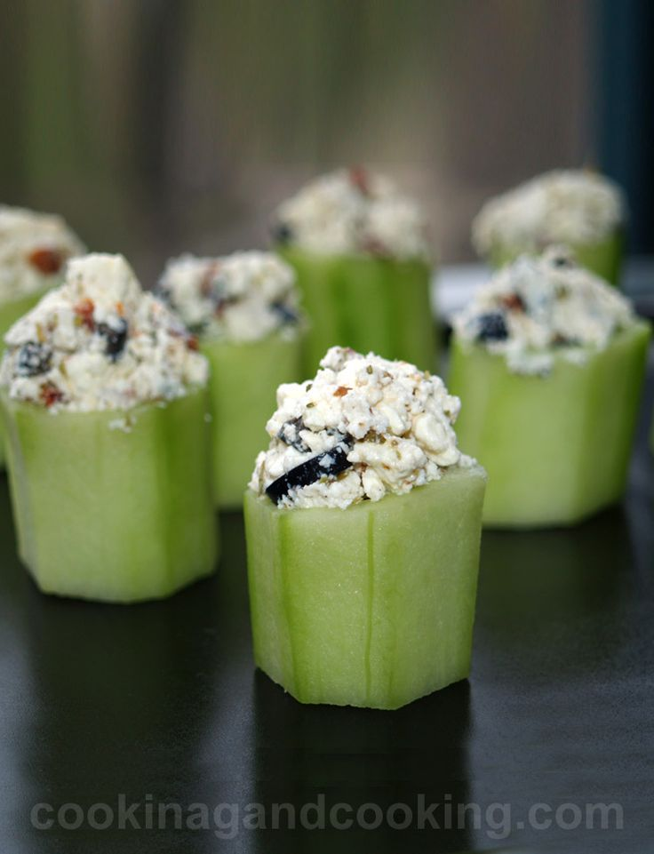 Stuffed Cucumber Cups recipe is a ridiculously tasty and simple idea for a veggie finger food.