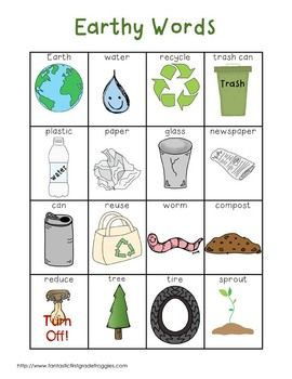 Writing Center Tools- Earth Day and Recycling Words