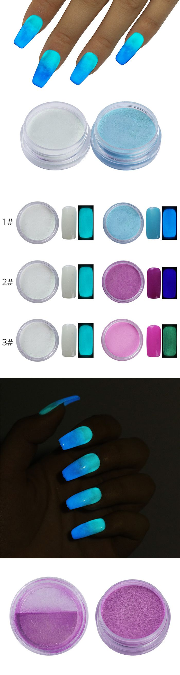 $1.99 2 Boxes Gradient Fluorescence Nail Powder Luminous Glow In Dark Glitter Nail Art Paillette Dust - BornPrettyStore.com