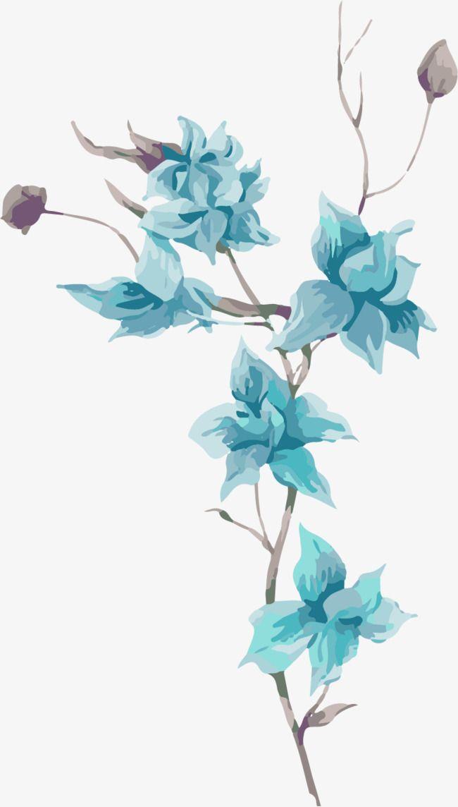 Cartoon Hand Painted Blue Flowers Cartoon Flowers Hand Painted Flowers Blue Flowers Png Image Blue Flower Painting Flowers Cartoon Cartoon Flowers Blue flower wallpaper cartoon