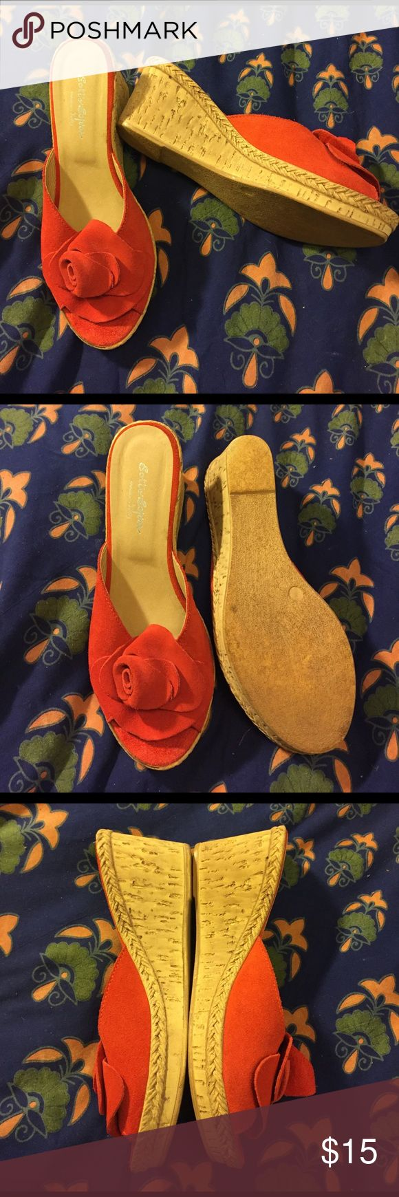 SOTTO SOPRA Italian Wedge-Size 7.5 Deep coral cork wedge mules with open toe. Retail at $55 Sotto Sopra Shoes Mules & Clogs