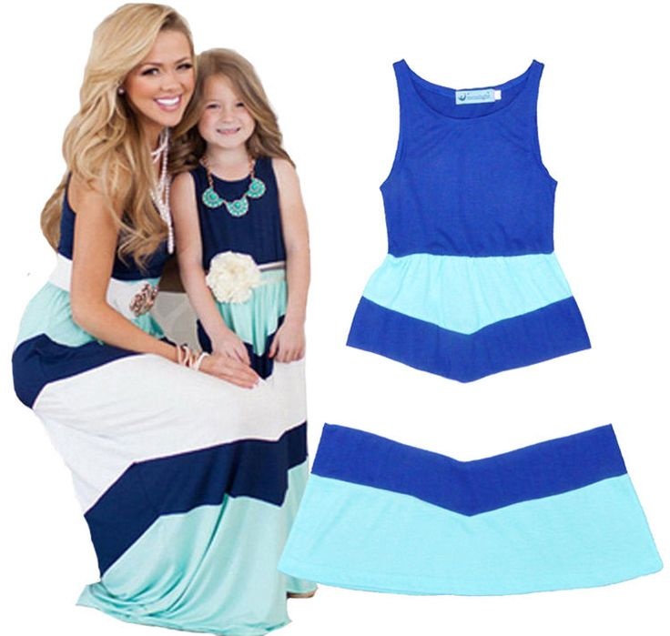 Mother and daughter dresses Striped Vest matching mom girls dress Family Clothes…