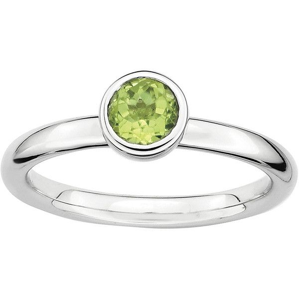 Personally Stackable 5mm Round Genuine Peridot Ring ($104) ❤ liked on Polyvore featuring jewelry, rings, no color, peridot stackable ring, stacking rings jewelry, peridot jewelry, stackable rings and stackers jewelry