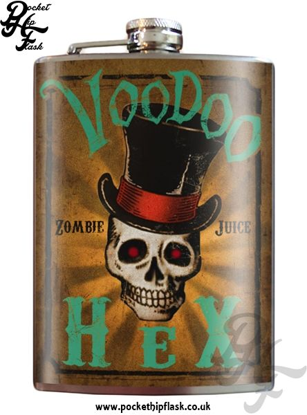 Art inspired stainless steel Voodoo Hex Zombie Juice hip flask @ The Pocket Hip Flask Company: