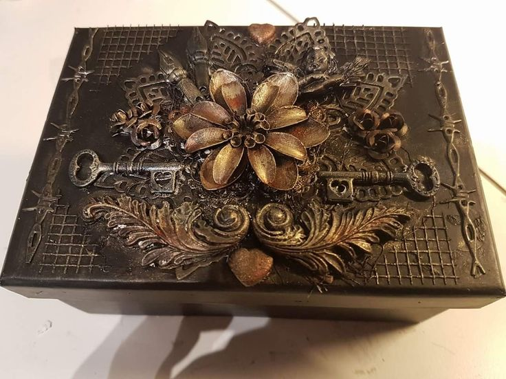 A little box made with Black gesso and the metallic wax from Finnabair