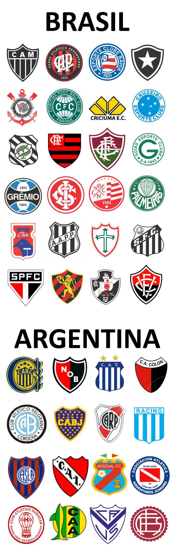 Escudos de fútbol de Brasil y Argentina