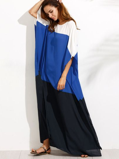 Fabric: Fabric has no stretch Season: Summer Pattern Type: Color Block Sleeve Length: Half Sleeve Color: Multicolor Dresses Length: Maxi Style: Beach Material: 100% Polyester Neckline: Round Neck Silh