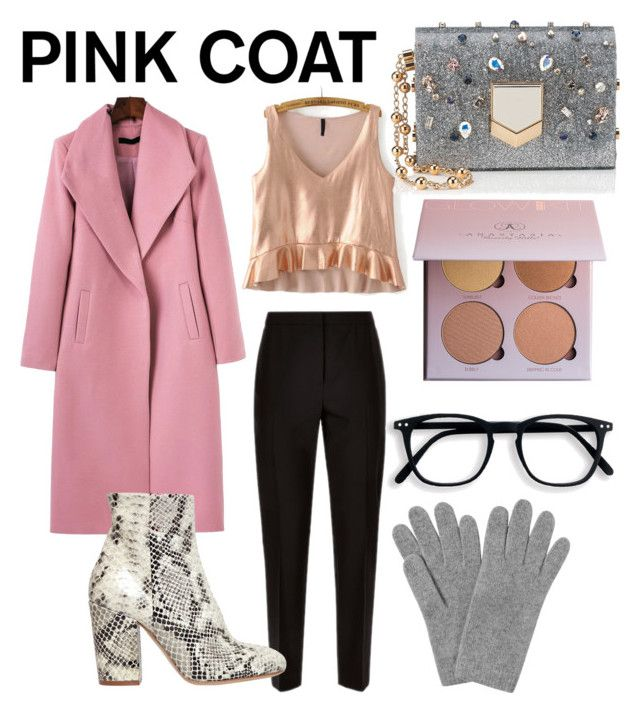 """Pink Coat"" by jessiebowens ❤ liked on Polyvore featuring WithChic, Jaeger, Strategia, Jimmy Choo and L.K.Bennett"
