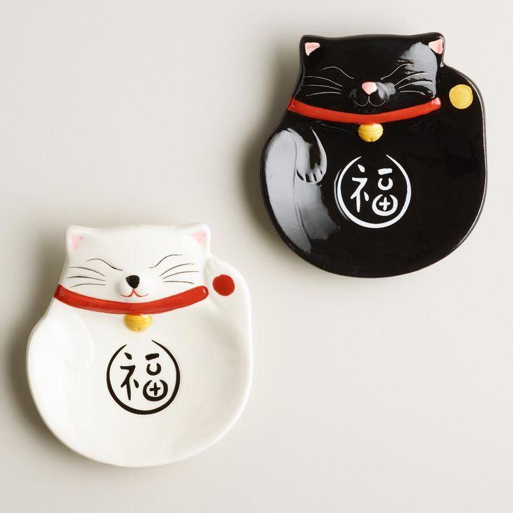 Happy Cat Ceramic Tea Rests, Set of 2 | World Market