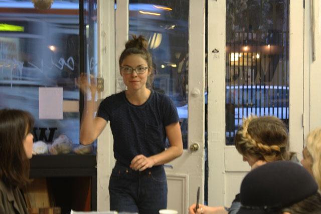 POP-UP BRITEX: Geana Sieburger teaching Warp x Weft: textile 101 at Workshop SF--rattling a silk cocoon to demonstrate that a worm is still inside.