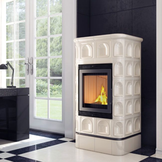 Tiled Stove BLANCHE 8 kW with cream colored tiles. Available tile stove ceramic tile colors - white, burgundy, cream and dark green. Elegant heating solution.