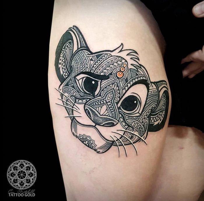 Mosaic Simba Girls Thigh Tattoo | Best tattoo ideas & designs