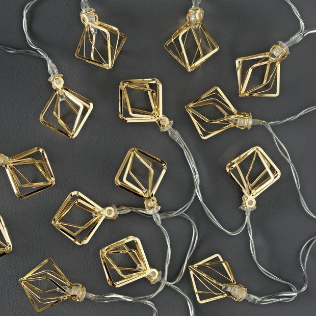 Buy Collection Set of 20 Diamond Cage LED String Lights - Gold at Argos.co.uk - Your Online Shop for Novelty lights, Lighting, Home and garden.