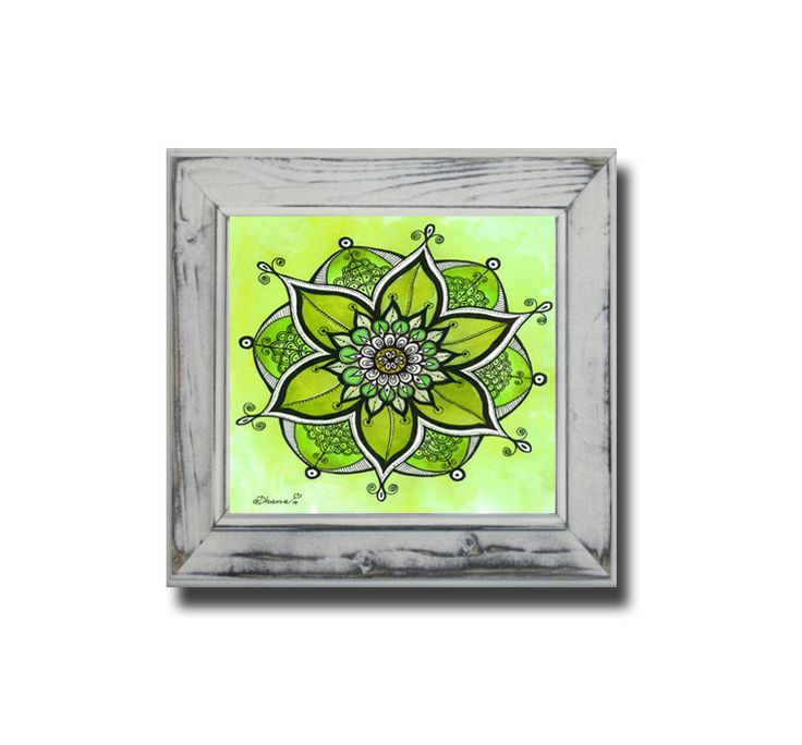 Green Mandala Energy Painting - Sacred Geometry Art PRINT - Unique Anniversary gift - Floral Wall Decor - Good Luck Art - Kids room decor by DHANAdesign on Etsy