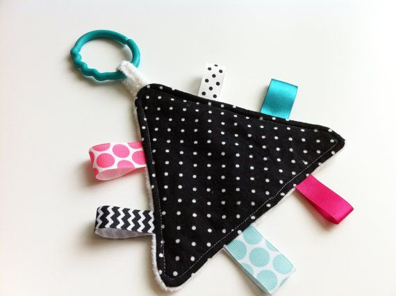 Taggie Toy - Sensory Crinkle Taggie Toy - Black, Teal, Pink, White via Etsy