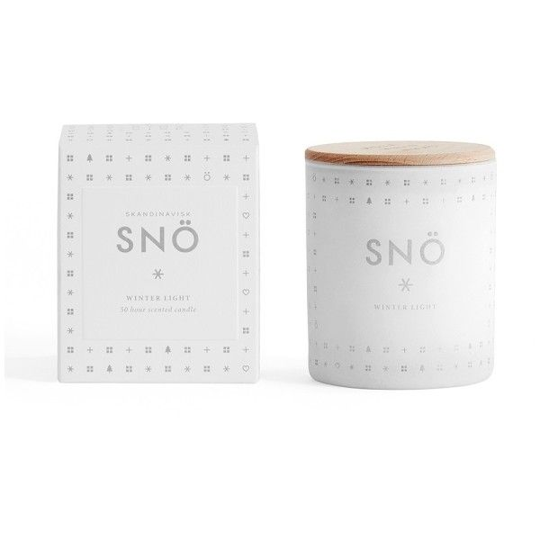 Snö Scented Candle (47 CAD) ❤ liked on Polyvore featuring home, home decor, candles & candleholders, winter candles, scented votive candles, scandinavian home decor, scented candles and fragrance candles