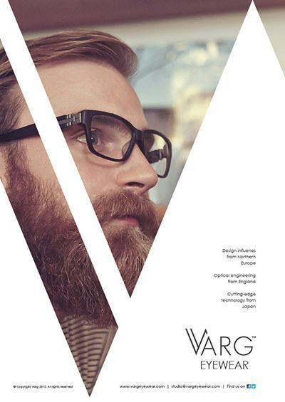 Varg Eyewear Advertisements by Ross Sweetmore, via Behance. Nice way to break up the image and direct the viewer's eye. Very modern, very hipster.:
