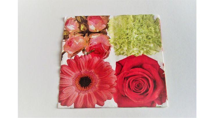 Rózsás, gerberás, virágos szalvéta - KreatívHobbyDekor webáruház