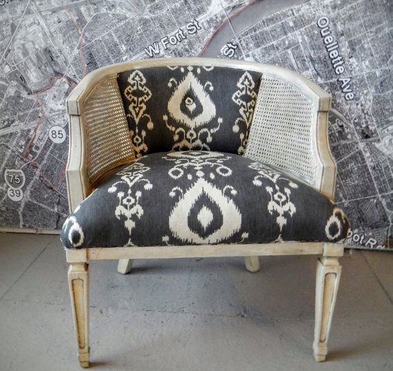 $200. SALE! Barrel chair MCM Ikat vintage lounge arm ink color caning mid century