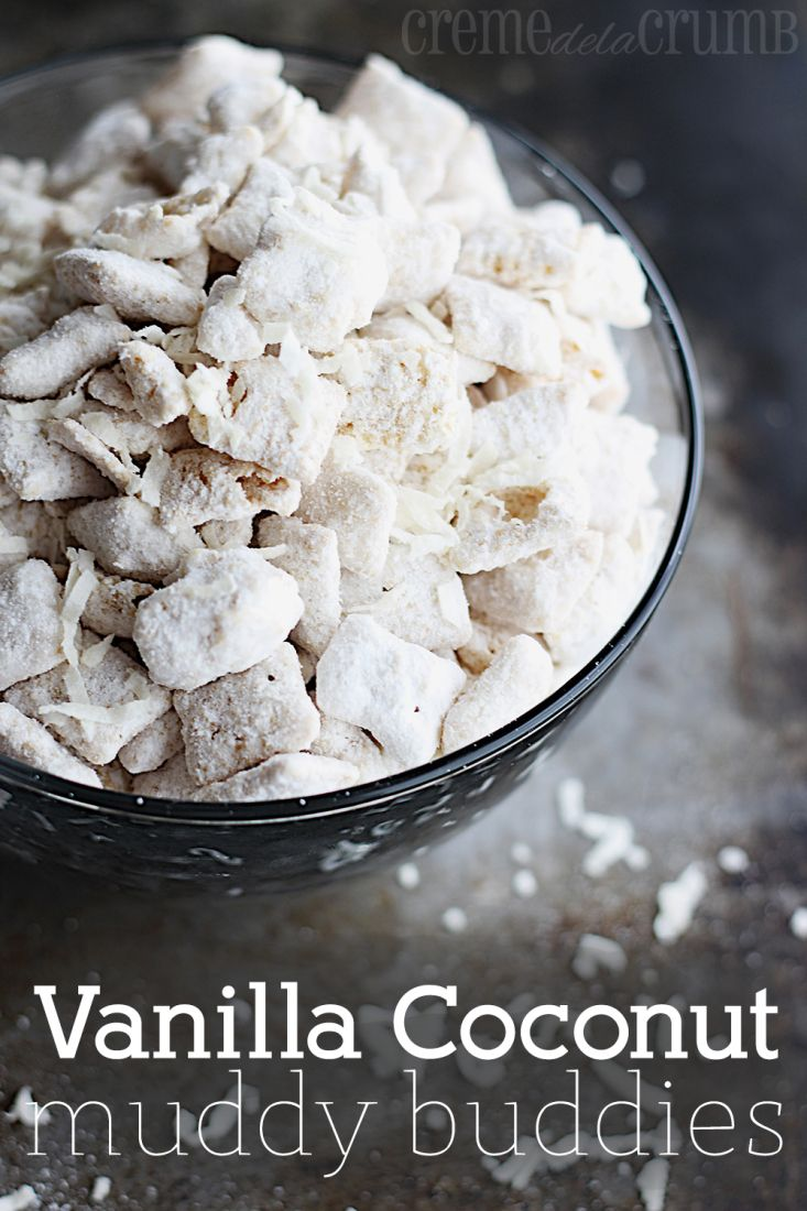 Vanilla Coconut Muddy Buddies at http://therecipecritic.com  A delicious and addicting snack that you won't be able to get enough of!