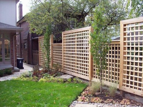 square lattice fence- like this fence better than plain wood fence, much better than chain link