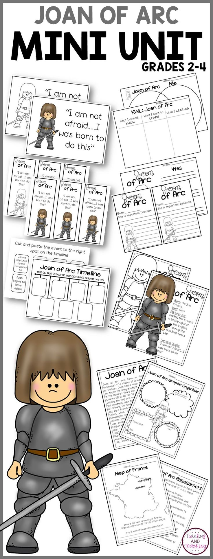 This set includes fun and engaging activities to teach your kids about Joan of Arc!