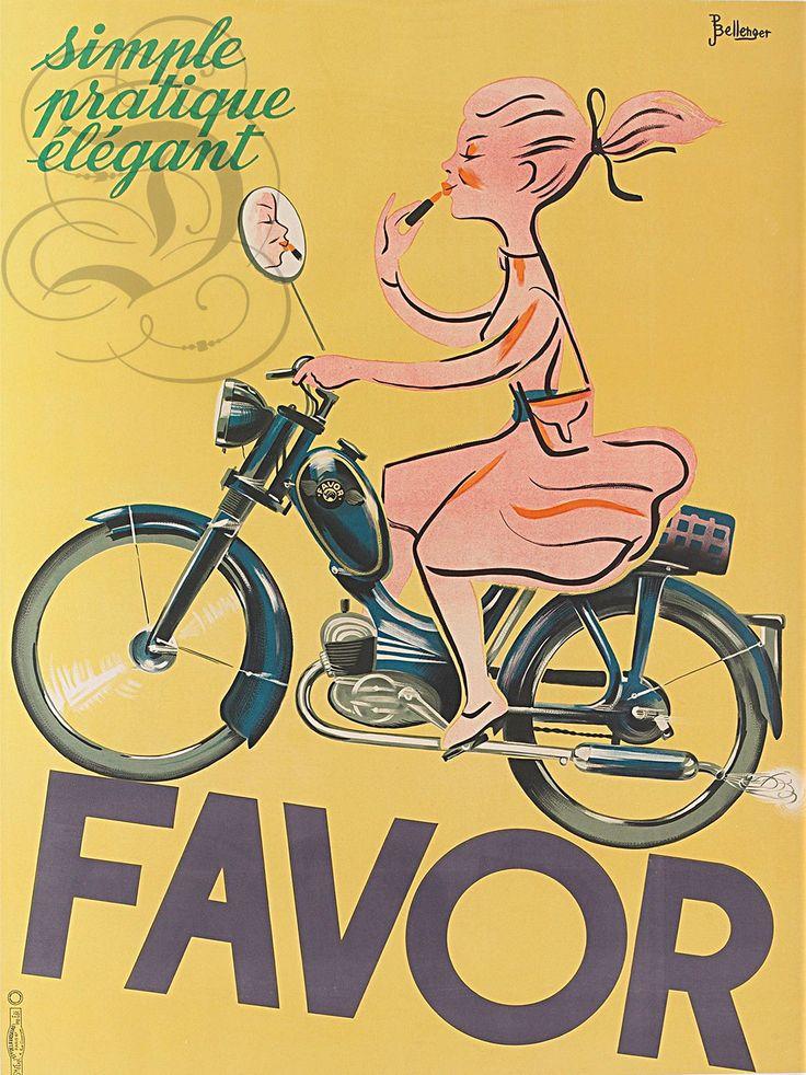 Plaque ALU Reproduisant UNE Affiche Moto Mobylette Favor 2 Roues | eBay
