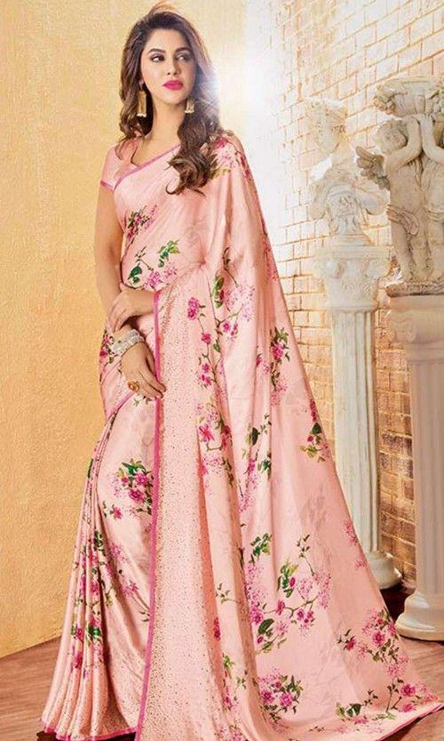 Peach Printed Floral Saree