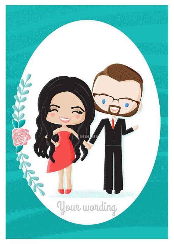 Custom Couple Illustration Portrait Wedding Engagement or
