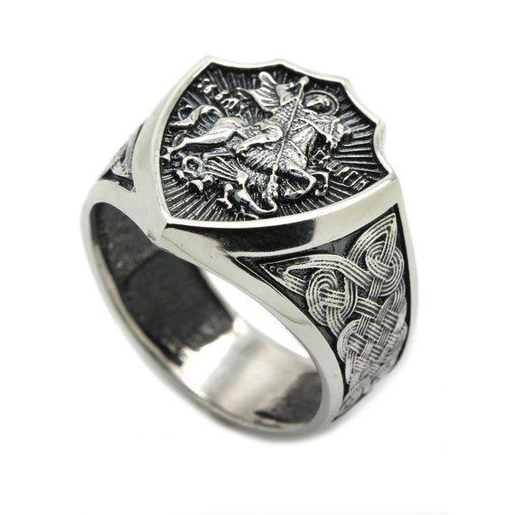 HEAVY UNIQUE LION SIGNET MENS RING BLACK RHODIUM PLATED 925 SILVER BIKER RING