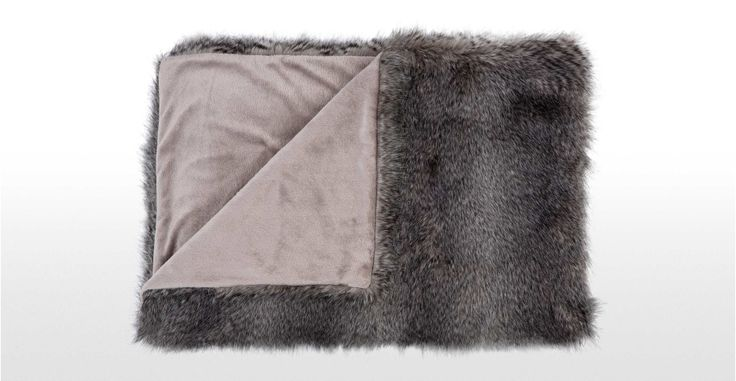 Larvik Faux Fur Throw, in Tonal Grey | made.com
