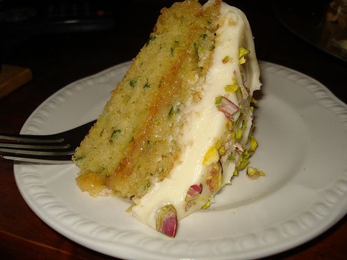 Nigella's courgette and lemon cake, baked this week - but it didn't look quite like this!