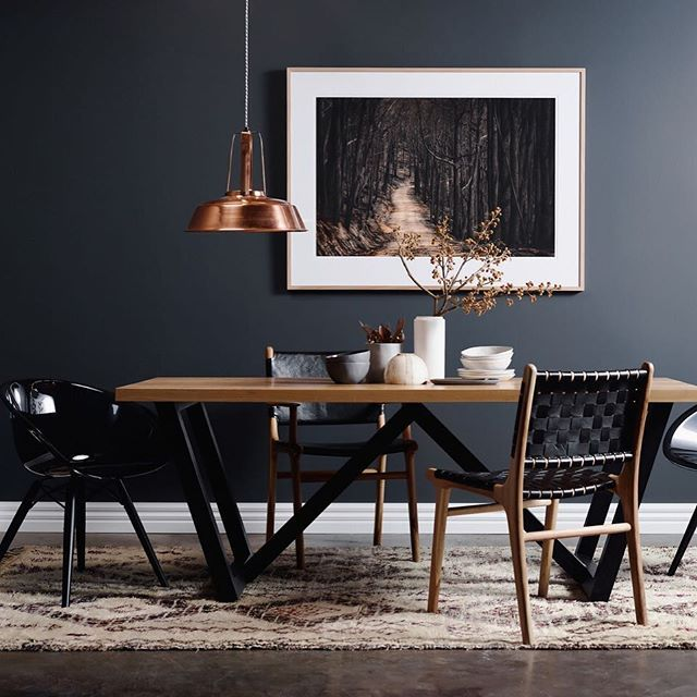 The perfect setting for a winter feast.  Featuring Our 'New Beginning' photographic print with Aspen dining table from @2ndchancetables  Photographer: Peter Ryle @peterryle Stylist: Jacqui Moore @mooreconcepts for @greenhouseinteriors  Also featuring 'Gliss Trans' chairs from Curious Grace @curiousgrace Leather strap Tanner dining chair and 'Fenwick' black leather dining chair from Barnaby Lane @barnabylane Vintage Moroccan rug from Halcyon Lake @halcyonlake Ceramics are a combination of…