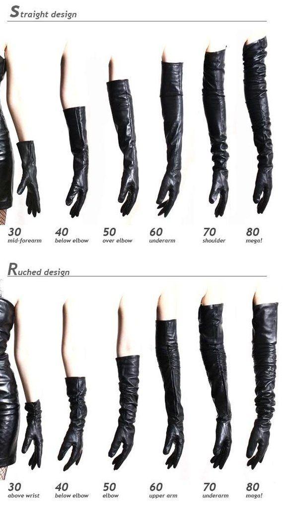 60cm volle Hülse unter Arm Echtleder Runway Fashion Noir trauern Oper Handschuh