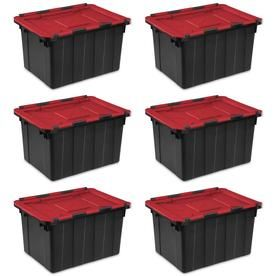 Sterilite Corporation 12 Gallon 45 Liter Hinged Lid Industrial Tote 6 Pack 14619006 68159 Sterilite Hinged Lid Rectangle Storage