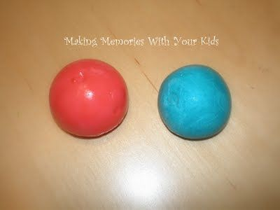 Homemade Bouncy Balls- 1 Tbsp Elmers glue, 1/2 tsp Borax, 1 Tbsp cornstarch, 4 Tbsp warm water, food coloring