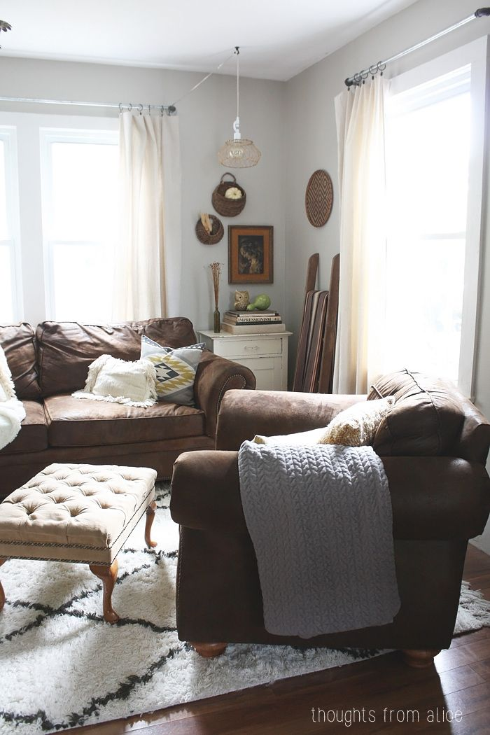 Cozy Eclectic Fall Living Room - Bohemian Vibe with Neutral Fall Touches
