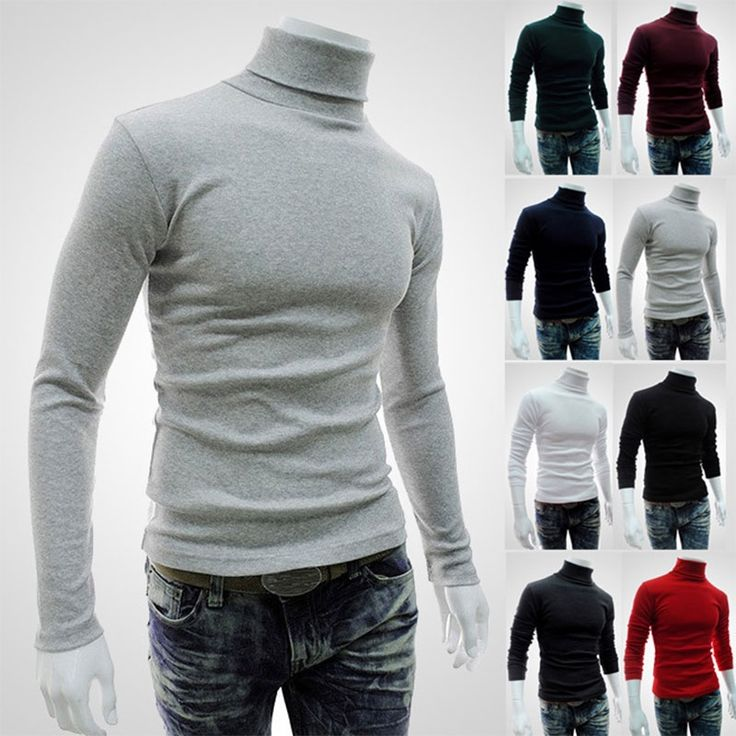 Casual Men Long Sleeve Knitwear Autumn Winter Turtle Neck Slim Fit Basic Pullover Tops H9