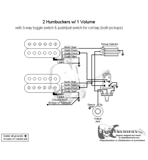 2 humbuckers/3-way toggle switch/1 volume/coil tap north ... dual humbucker wiring diagram for toggle switch wire diagram for toggle switch