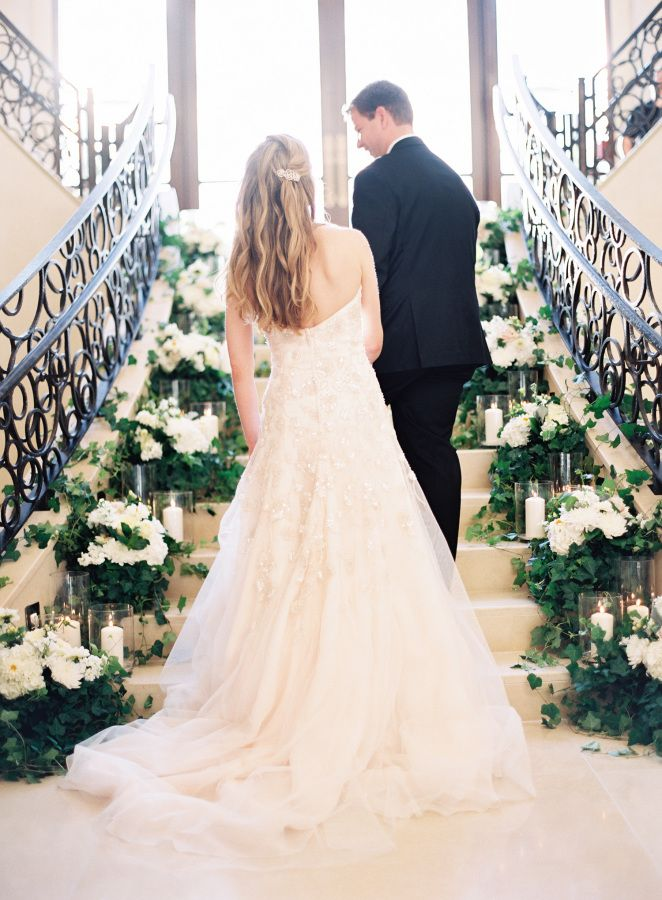 Breathtaking embellished gown: http://www.stylemepretty.com/florida-weddings/lake-buena-vista-florida/2016/06/30/youve-got-to-see-this-staircase-ceremony/ | Photography: Kayla Barker Fine Art Photography - http://www.kaylabarker.com/